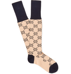 Gucci - Monogrammed Jacquard-Knit Stretch Cotton-Blend Socks