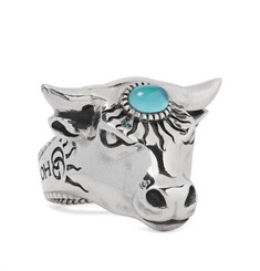 Gucci - Bull's Head Sterling Silver and Glass Ring