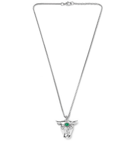 Gucci Bull's Head Sterling Silver Glass Bead Necklace