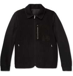 Solid Homme Suede-Trimmed Panelled Scuba-Jersey Jacket