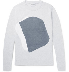 Solid Homme Jacquard-Knit Wool-Blend Sweater