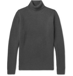 Solid Homme Waffle-Knit Wool and Cashmere-Blend Rollneck Sweater