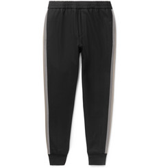 Solid Homme Tapered Grosgrain-Trimmed Stretch-Wool Drawstring Trousers