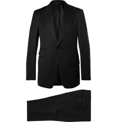 TOM FORD Icon Black Shelton Slim-Fit Grain De Poudre Wool-Blend Suit