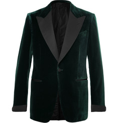 TOM FORD - Icon Dark-Green Shelton Slim-Fit Grosgrain-Trimmed Velvet Tuxedo Jacket