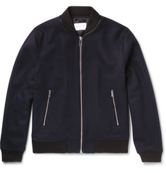 Sandro Leather-Trimmed Wool-Blend Bomber Jacket