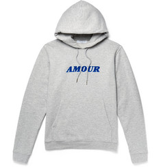 Sandro Flocked Fleece-Back Cotton-Jersey Hoodie