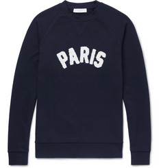 Sandro Terry-Appliquéd Loopback Cotton-Jersey Sweatshirt