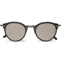 Oliver Peoples OP-505 Round-Frame Acetate and Gunmetal-Tone Sunglasses