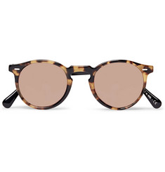 Oliver Peoples Gregory Peck Round-Frame Two-Tone Tortoiseshell Acetate Sunglasses
