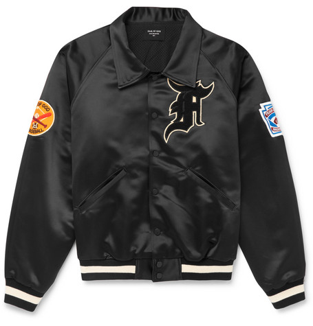 Appliquéd Satin Bomber Jacket - Black