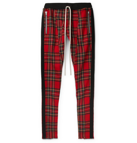 Slim-fit Tapered Checked Wool Drawstring Trousers - Red