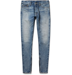 Fear of God - Skinny-Fit Zip-Detailed Distressed Selvedge Denim Jeans