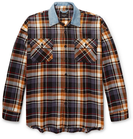 b9a59ed9f0 Fear Of God Purple Oversized Plaid Denim Collar Flannel Shirt
