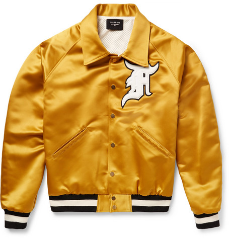 Appliquéd Satin Bomber Jacket - Saffron