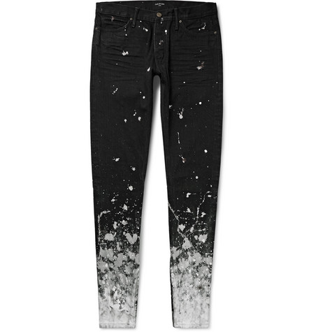 Skinny Fit Zip Detailed Painted Selvedge Denim Jeans by Fear Of God