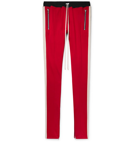 Slim-fit Tapered Striped Jersey Drawstring Trousers - Red