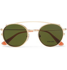 Prada Round-Frame Gold-Tone Optical Glasses With Clip-On UV Lenses
