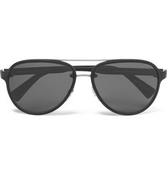 Prada Aviator-Style Rubber and Silver-Tone Sunglasses