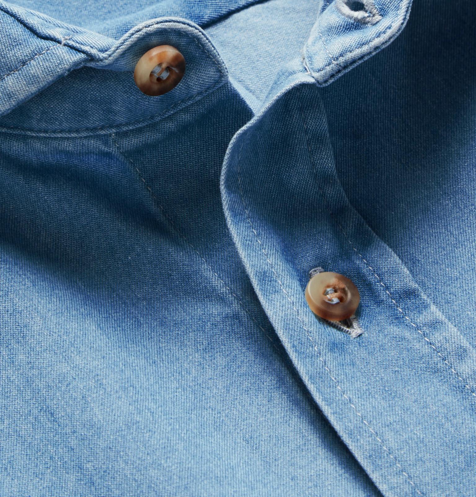 6776abf7a0 Brunello Cucinelli - Slim-Fit Cutaway-Collar Washed-Denim Shirt