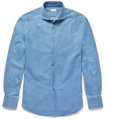 Brunello Cucinelli Slim-Fit Cutaway-Collar Washed-Denim Shirt