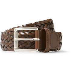 Anderson's 3.5cm Brown Woven Leather Belt
