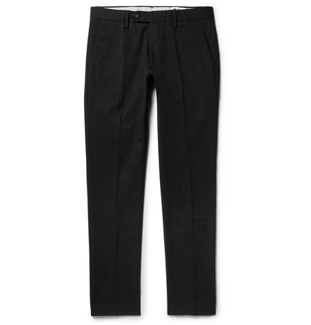 Theo Slim-fit Stretch-cotton Twill Chinos - Black