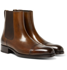 TOM FORD Edgar Burnished-Leather Cap-Toe Chelsea Boots