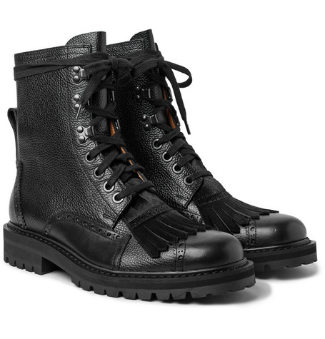 Calf Hair Trimmed Pebble Grain Leather Kiltie Brogue Boots by Dries Van Noten