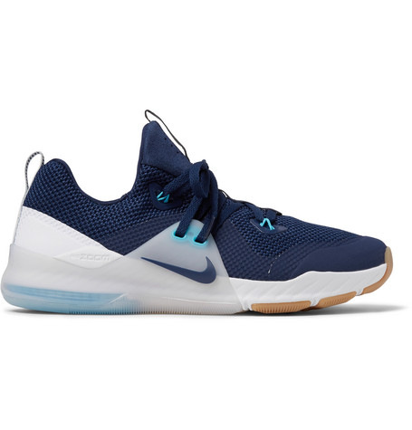 Nike Zoom Train Command Faux Suede-trimmed Mesh Sneakers - Storm Blue