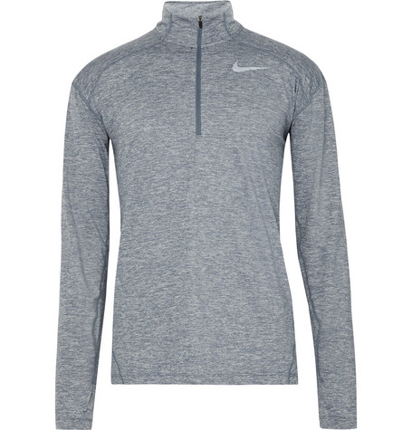 Nike Element Space-dyed Dri-fit Half-zip Top In Blue