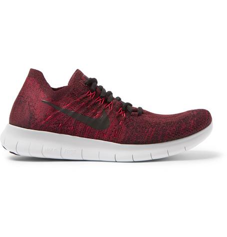 Nike Free Run 2017 Flyknit Sneakers In Burgundy