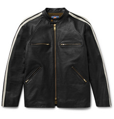Blackmeans - Shearling-Lined Striped Leather Café Racer Jacket