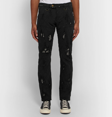 Skinny Fit Distressed Cotton Trousers by Blackmeans