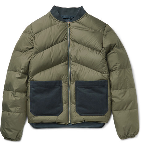 Reversible Quilted Shell Down Bomber Jacket - Army green
