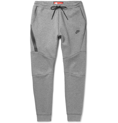5ba6162765d5 Nike Slim-Fit Tapered Cotton-Blend Tech Fleece Sweatpants In Light Gray