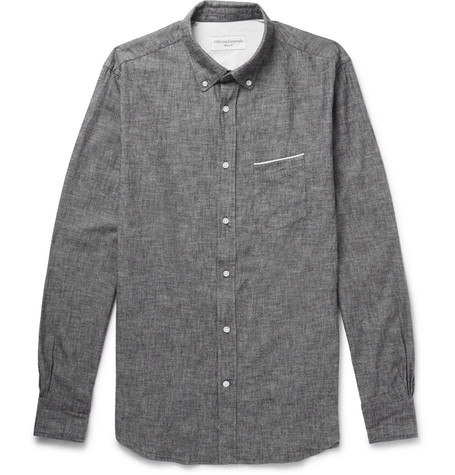 Slim Fit Button Down Collar Selvedge Cotton Chambray Shirt by Officine Generale