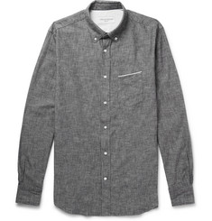 Officine Generale Slim-Fit Button-Down Collar Selvedge Cotton-Chambray Shirt
