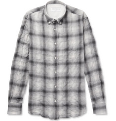 Officine Generale - Button-Down Collar Checked Cotton-Blend Flannel Shirt