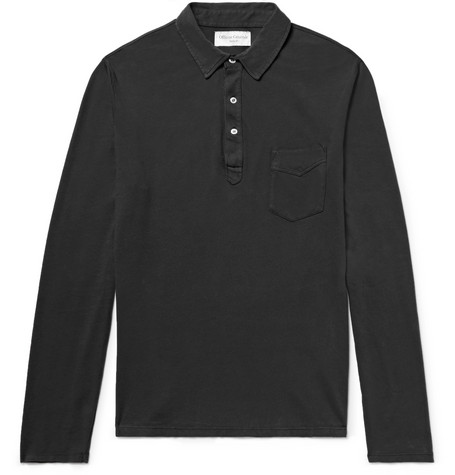 Officine Generale Cotton-Jersey Polo Shirt In Black