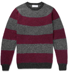 Officine Generale Striped Brushed Virgin Wool Sweater
