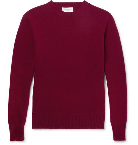OFFICINE GENERALE Merino Wool Sweater - Burgundy hMovY1VrRt
