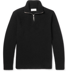 Officine Generale Walt Slim-Fit Ribbed Merino Wool Half-Zip Sweater