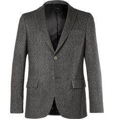 Officine Generale Grey Slim-Fit Herringbone Cashmere Blazer