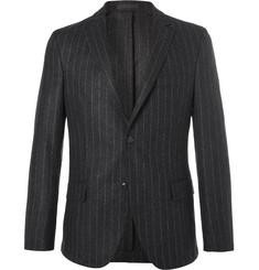 Officine Generale Grey Slim-Fit Pinstriped Wool-Flannel Blazer