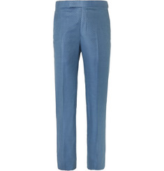 Richard James Blue Slim-Fit Super 130s Silk and Wool-Blend Jacquard Suit Trousers
