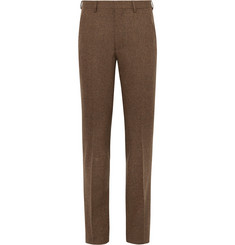 Noah - Brown Slim-Fit Donegal Wool-Tweed Suit Trousers