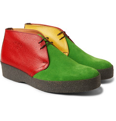 Noah - + Sanders Colour-Block Suede and Pebble-Grain Leather Desert Boots