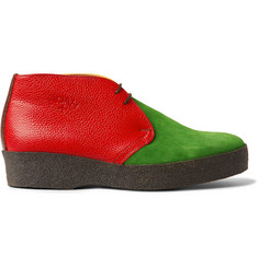 Noah + Sanders Colour-Block Suede and Pebble-Grain Leather Desert Boots