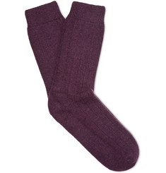 NN07 - Ribbed Mélange Wool-Blend Socks